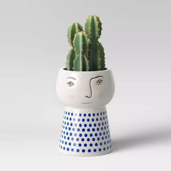 pedestal planter with face