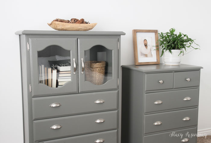 furniture painted gray for budget bedroom makeover