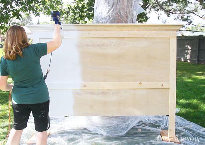 painting DIY headboard